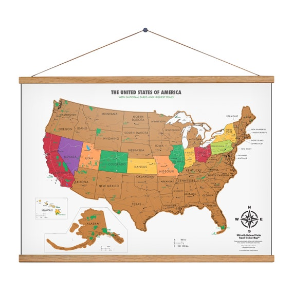 Scratch Off USA Map With National Parks - Map Of The United States - 17 (h)  x 24 (w) Inches - Includes 24\