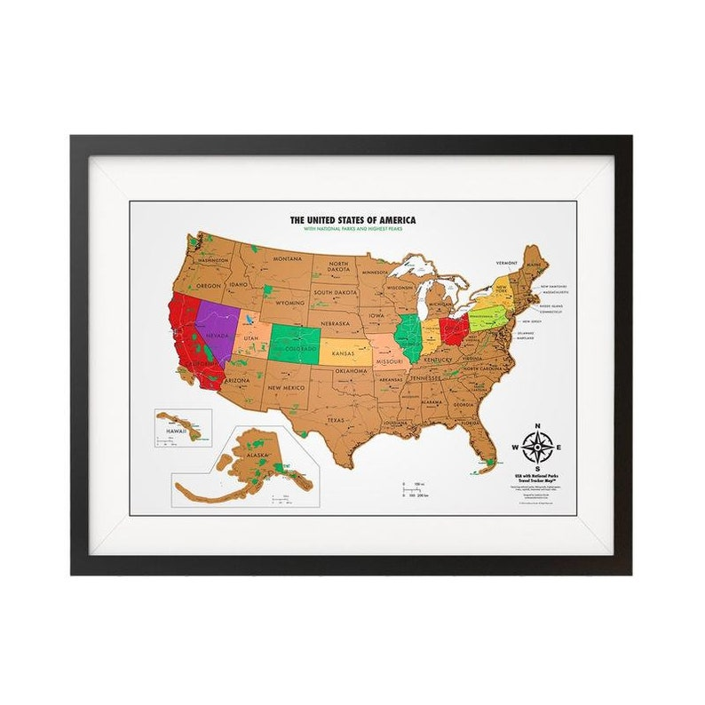 National Parks Scratch Off USA Map - White And Gold - United States on red usa map, folding usa map, black usa map, white usa map, gold usa map, signature usa map,