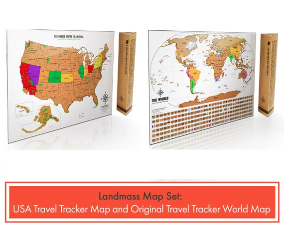 2 Scratch Off Maps - 1 World Map And 1 USA Map - White And Gold - 17 (h) x  24 (w ) Inches - Travel Tracker Maps