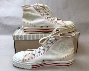 c085a3eababa4 50s Canvas Hi Tops Jets DEADSTOCK    Youth Size 1 Basketball Sneakers Red  Band Jets Interceptor NOS Original Box