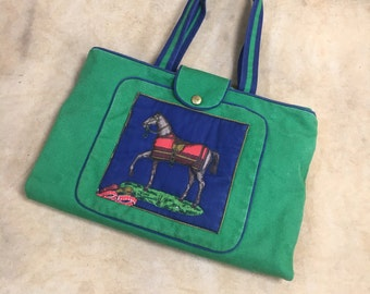 6949be5881ef Vintage Canvas Tote    Preppy Horse Expandable 80s Beach Bag Green Blue