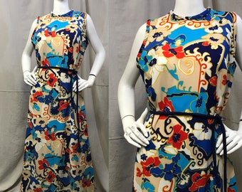 Sleeveless Maxi Dress Joan Curtis // Psychedelic Floral Dress Size Medium Belted