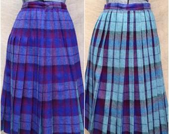 b78ae484b Reversible Plaid Wool Skirt Purple Aqua Pleated School Girl Kilt 50s 60s