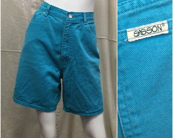 2e336a0067 90s Denim Jean Shorts Sasson Turquoise High Waisted // Women's 28 Waist