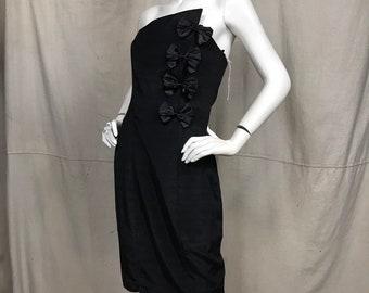 b11dd4e4f42 80s Formal Dress Strapless    DEADSTOCK Vintage Party Dress Strapless Black  Bow Dress Roberta