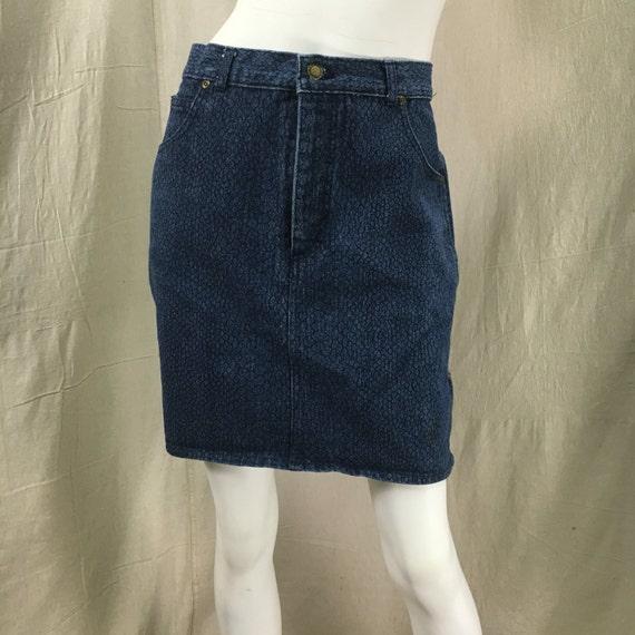 Jordache Denim Skirt 80s Pencil Skirt Snakeskin Pr