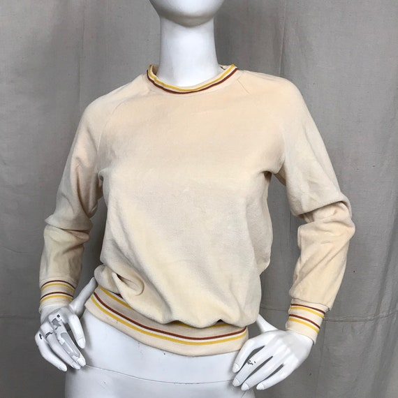 Velour Sweater Retro Sweatshirt Long Sleeve Shirt