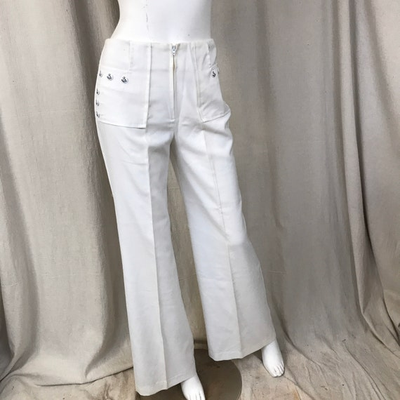 Wide Leg Pants White, Sailor 70s Bell Bottoms Wome