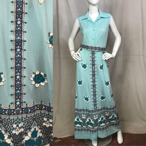70s Shaheen Dress Floral Screen Print Flowers Maxi