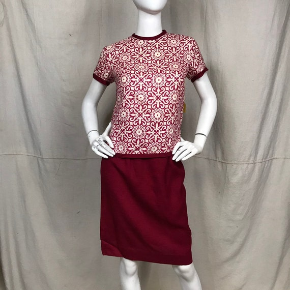 60s Red Skirt Top Set // Matching DEADSTOCK Skirt