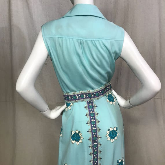 70s Shaheen Dress Floral Screen Print Flowers Max… - image 3