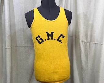 Gym Top Athletic Jersey Vintage Yellow Sleeveless Basketball GMC