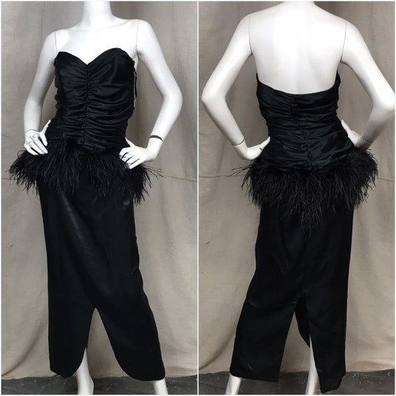 80s Dress Strapless Feathers// DEADSTOCK Vintage F