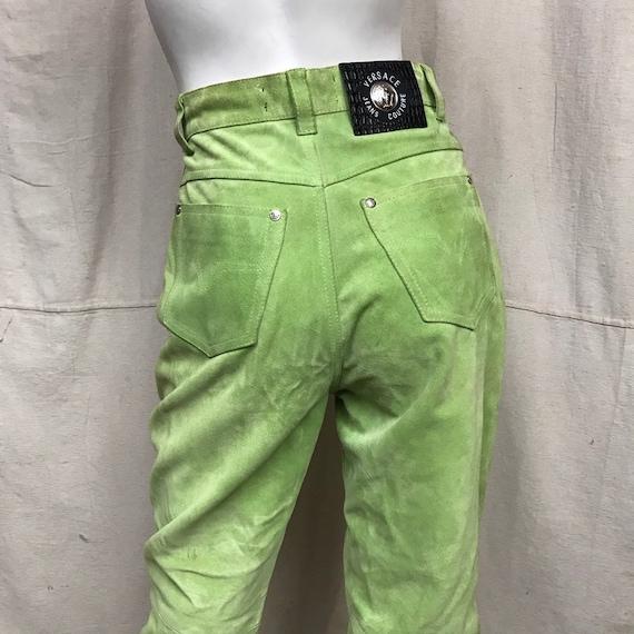Suede VERSACE Pants Green Size 6 // 90s Women's Hi