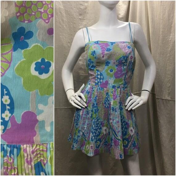 60s Pleated Swimsuit Floral Mini Skirt Vintage 196