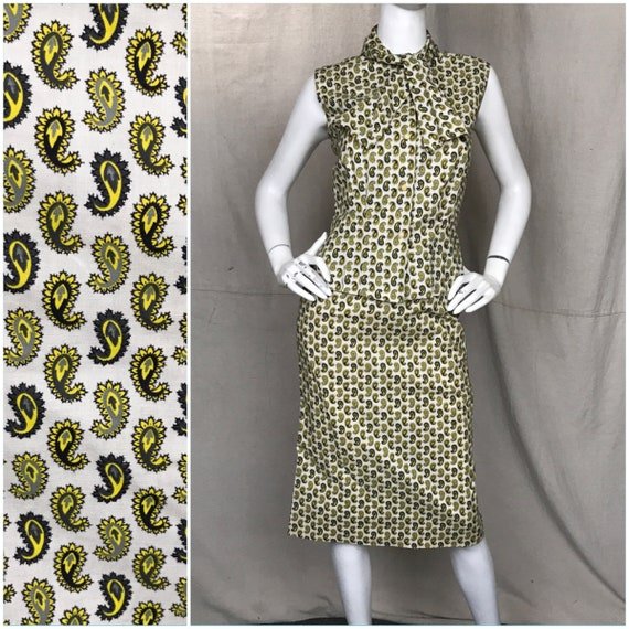 50s Paisley Skirt Top Set // Matching Yellow Black