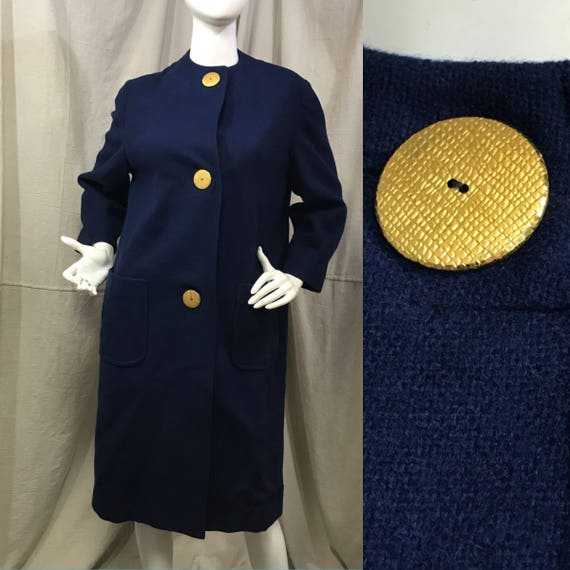 Wool Coat Blue 60s Cocoon Coat Gold Buttons Size M