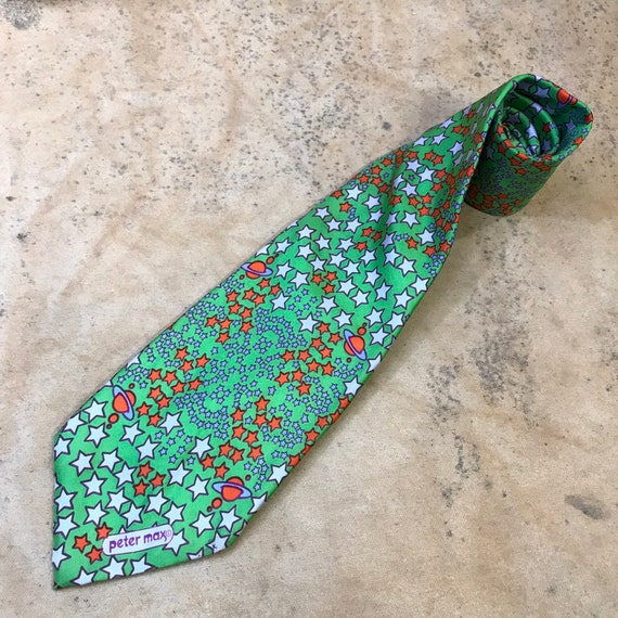 Peter Max Necktie Psychedelic Stars Planets Graphi