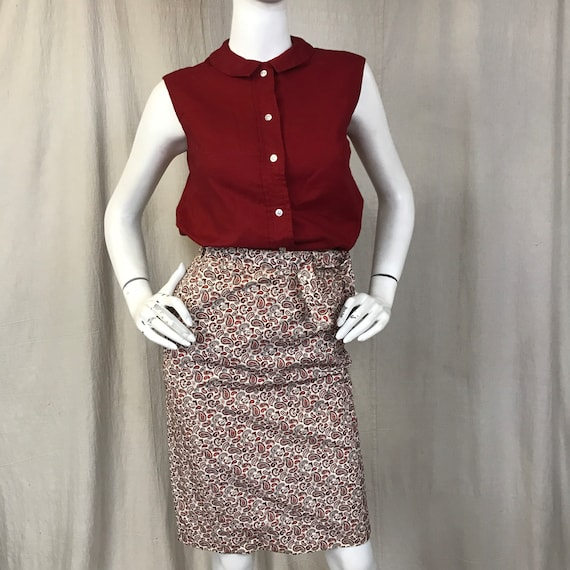 Villager Paisley Skirt Top Set // 50s Matching Red