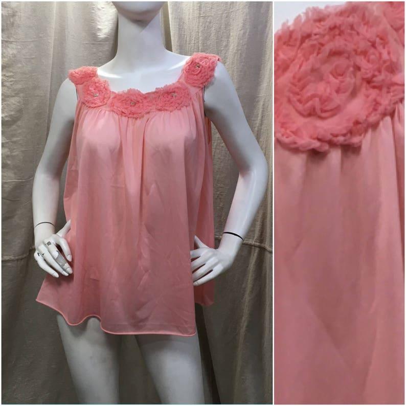 4cf5f56024d Ruffled Pink Nightie Vintage Babydoll Lingerie Retro 60s 70s