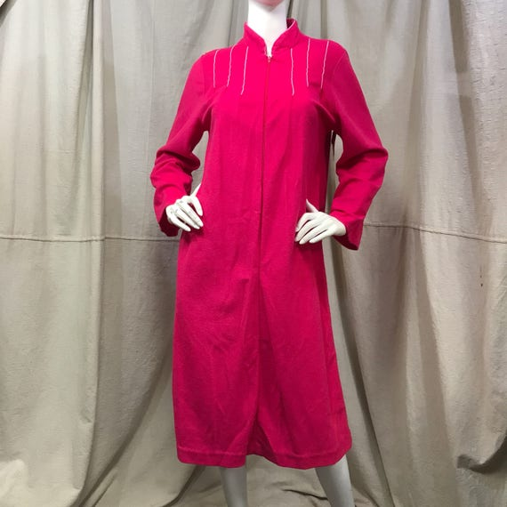 Velour House Coat Zip Front Robe Pink // Fuzzy Pin