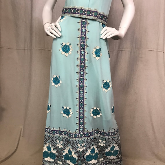 70s Shaheen Dress Floral Screen Print Flowers Max… - image 4