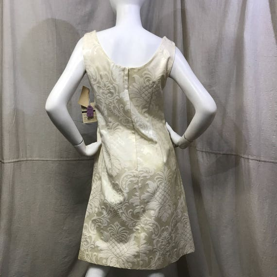 Beaded Sheath Dress 60s Damask Dress // Vintage W… - image 4