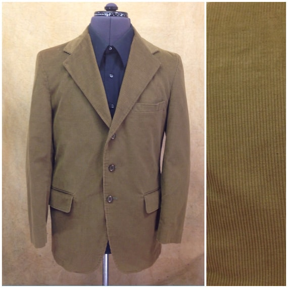 38R Corduroy Sport Jacket Blazer Vintage Mens Suit