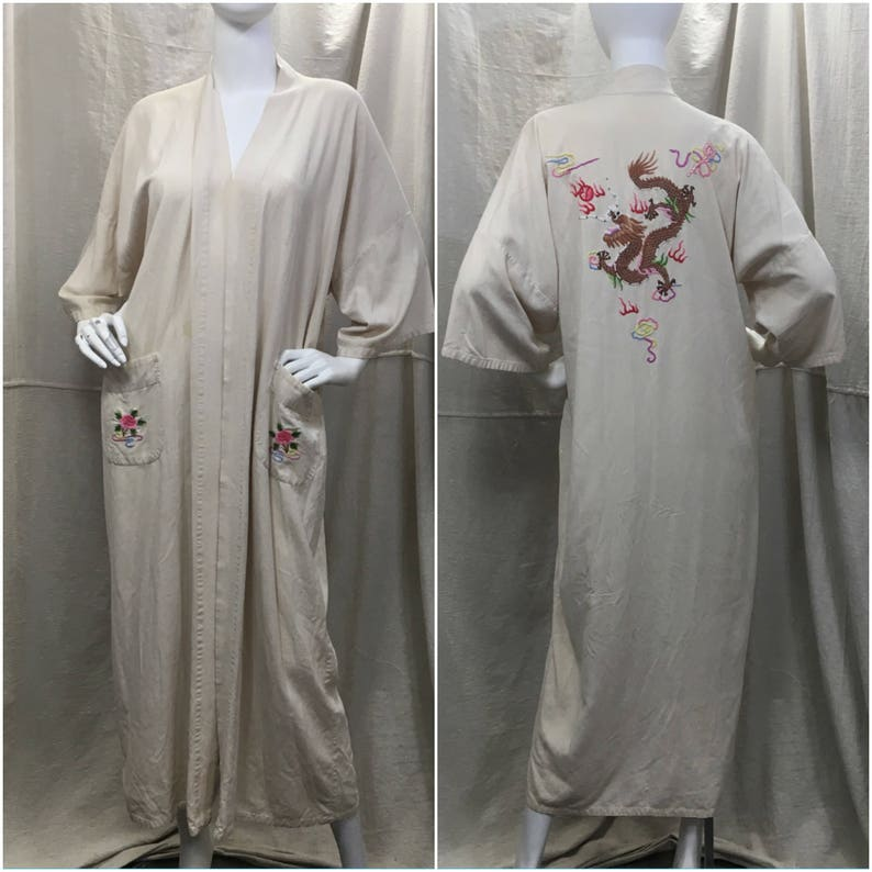 Silk Chinese Robe Dragon Embroidered    Vintage Long Kimono  166de52e7