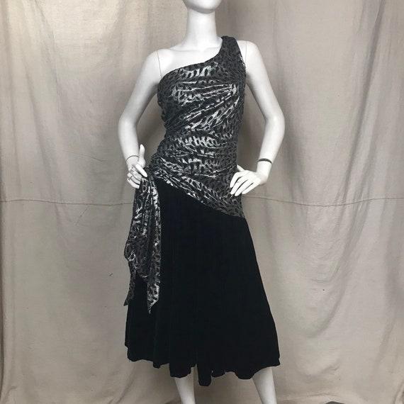 Metallic 80s Dress NOS One Shoulder // Vintage Sil