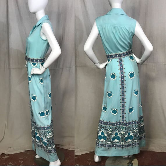 70s Shaheen Dress Floral Screen Print Flowers Max… - image 2