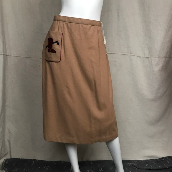 70s Skirt Straight 1970s Applique // Khaki Riding