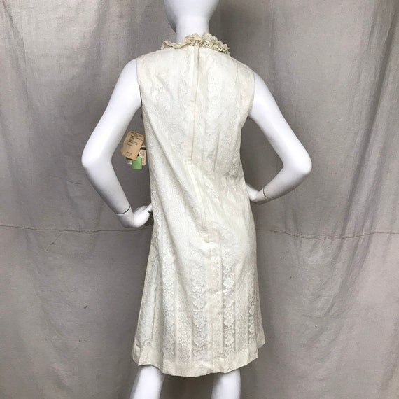 Beaded Sheath Dress 60s Damask Dress  Vintage White Dress Sleeveless Minx Modes NOS Deadstock