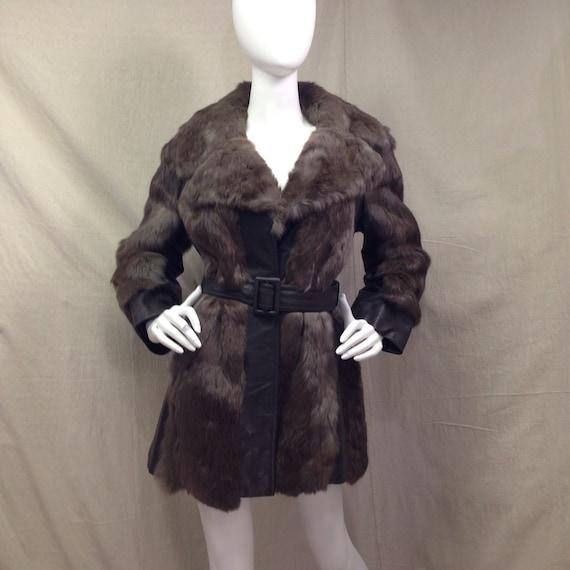 70s Fur Leather Coat // Vintage 70s Womens Medium