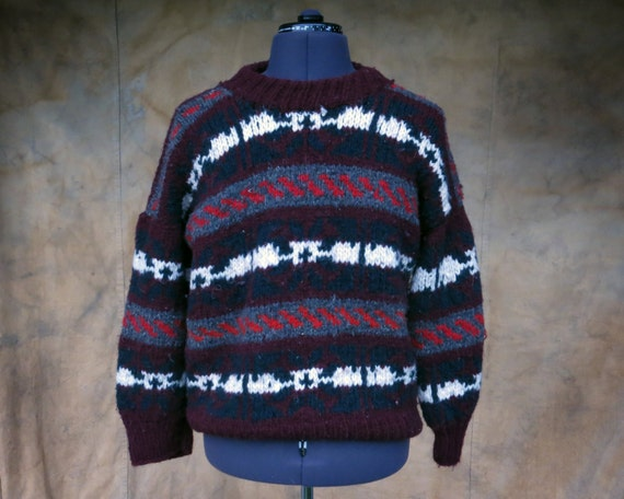 736d399a1 Chunky Wool Sweater // Vintage Unisex Large Knit Top Ecuador   Etsy
