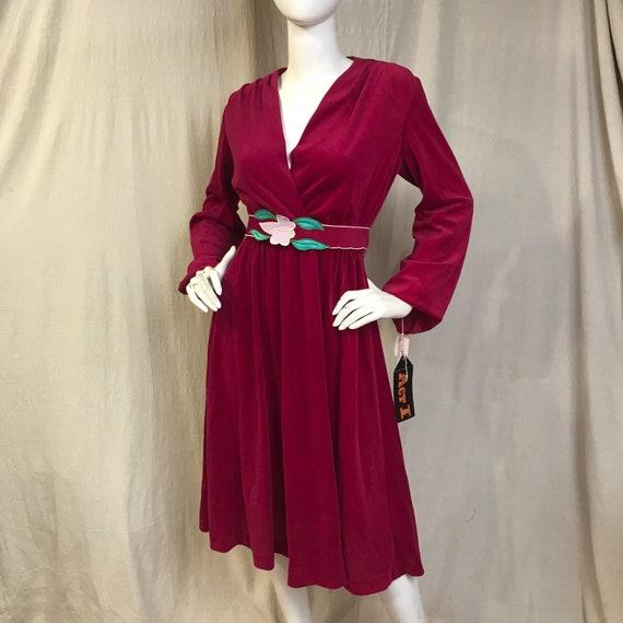 V Neck Velour Dress Magenta // Long Sleeve Belted