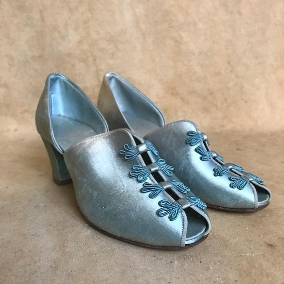 Blue Slippers 40's Daniel Green Satin Pumps 5.5 Ho