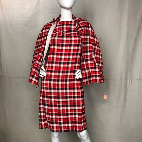 Red Plaid Dress Cape Set // Vintage Women's Sheath