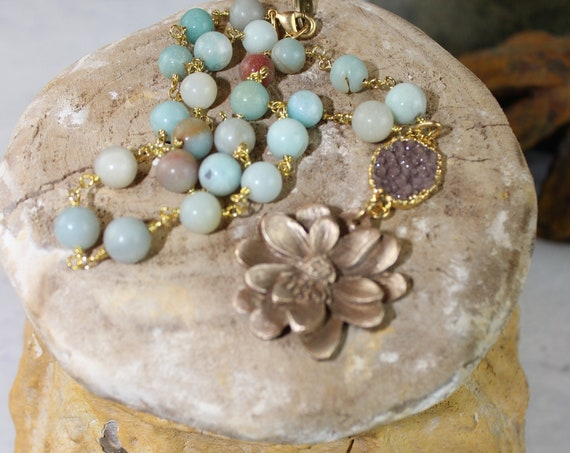 Bronze Dahlia on Amazonite Chain with Chocolate Druzy