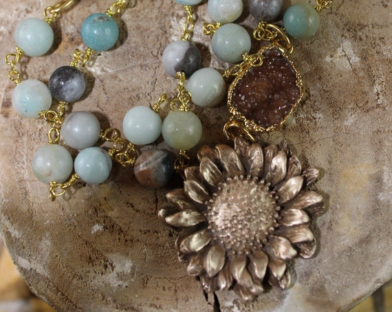 Bronze Sunflower on Amazonite Rosary Chain with Chocolate Druzy