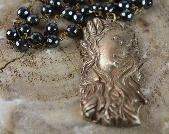 Bronze Beauty on Pyrite Rosary Chain