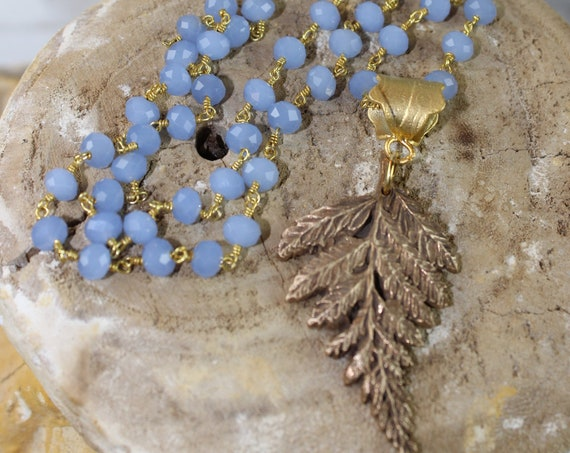 Bronze Fern Leaf on Chalcedony Rosary Chain