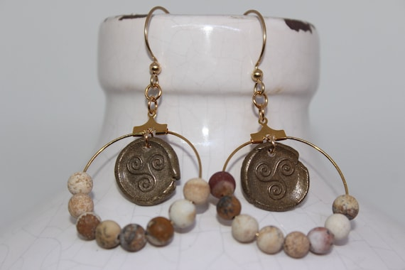 Bronze Wax Stamp Celtic Symbol with Jasper Beads on Gold-Filled Earwires