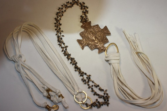 Bronze Medal on Dangle Pyrite Rosary Chain, Gold Vermeil Connectors, White Deerskin Leather & Tassel