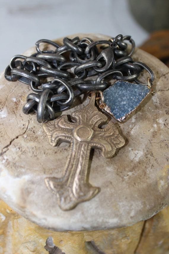Bronze Ornate Cross on Large Link Metal Chain
