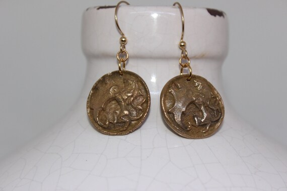 Bronze Medievil Family Crest Earrings