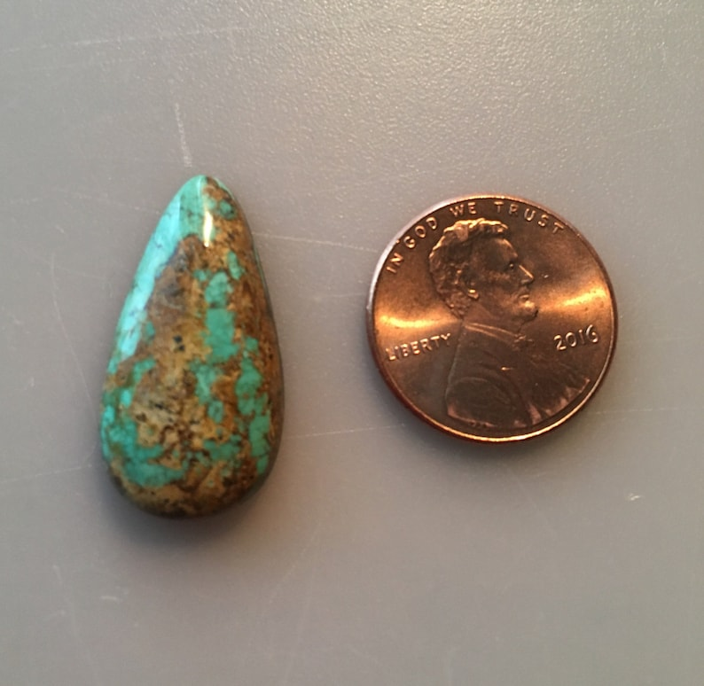 PM214 Pilot Mountain Turquoise Cabochon Natural 12 Carat Cab Stone Untreated Gemstone Gems