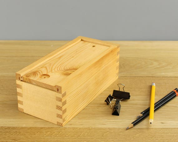 Sliding Lid Box Solid Wood Box Douglas Fir Box Office Etsy