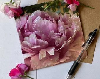 Purple peony A6 Greetings Card
