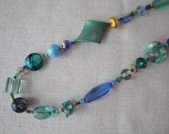"""30"""" Blues Aqua Teal Gold  Mixed Bead necklace"""